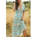 Tribal Style Women's A-Line Dress Floral Printed Banded Waist V Neck Short Sleeves Long A-Line Dress