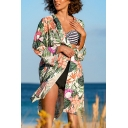 Womens Jacket Fashionable Floral Leaf Pattern Side Split Hem Open Front Long Sleeve Mid-Length Loose Fitted Cover-up Beach Jacket