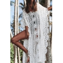 Womens Jacket Fashionable Hollow out Embroidered Lace Scalloped Open Front Loose Fitted Half Sleeve Longer Length Cover-up Beach Jacket