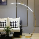 Black/Beige Arched Linear Stand Up Lamp Minimalism Metal LED Floor Light for Living Room