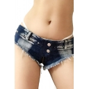 Classic Womens Shorts Faded Wash Frayed Cuffs Zipper Fly Slim Fitted Low Waist Ultra-Short Triangle Denim Shorts