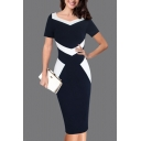 Classic Womens Dress Color Block Panel Invisible Zipper Back V Neck Short Sleeve Slim Fitted Knee Length Pencil Dress