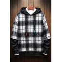 Men's New Stylish Plaid Print Long Sleeve Fake Tow-Piece Casual Pullover Drawstring Hoodie