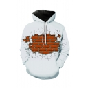 Creative Fashion Brick 3D Printed Long Sleeve Loose Fit Casual Drawstring Pullover Hoodie