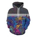 Couple Floral Color Block Printed Long Sleeve Hoodie Sweatshirt