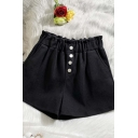 Creative Womens Shorts Solid Color Single Breasted Woolen High Rise Regular Fitted Wide Leg Relaxed Shorts