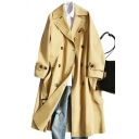 Fancy Women's Trench Coat Solid Color Double-Breasted Pockets Belted Notched Collar Button Detailed Long-sleeved Regular Fitted Coat