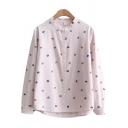 Cute Womens Shirt Cartoon Umbrella Pattern Short Front Long Back Hem Stand Collar Long-sleeved Regular Fitted Shirt