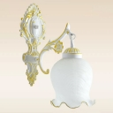 Single-Bulb Frosted Glass Wall Light Traditional White/Bronze Lettuce-Trimmed Bell Foyer Wall Mount Lamp