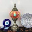 1-Light Globe Nightstand Lamp Bohemian Red/Blue/Yellow Mosaics Glass Table Light for Bedroom
