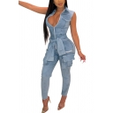 Womens Jumpsuit Stylish Faded Wash Flap Pockets Fake Sleeve Tie Front Frayed Edge Zipper Sleeveless Turn down Collar Slim Fitted Jumpsuit
