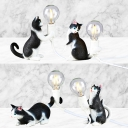 Tabby Cat Kids Bedroom Night Lamp Resin Single Bulb Nordic Style Table Light in Black and White