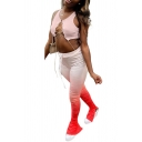 Cozy Womens Set Lace up Front Solid Color Sleeveless Crew Neck Cropped Tank Top with Drawstring Waist Long Pants Co-ords