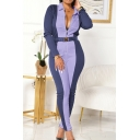 Womens Jumpsuit Fashionable Contrast Panel Zipper Front Long Sleeve Turn down Collar Skinny Fitted Jumpsuit