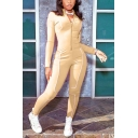 Basic Womens Jumpsuit Contrast Piping Zipper Front Long Sleeve Mock Neck Skinny Fitted Fitness Jumpsuit
