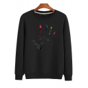 New Stylish Painted Palm Printed Crew Neck Long Sleeve Regular Fitted Cotton Pullover Sweatshirt