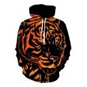 Black and Orange Cool Tiger 3D Pattern Long Sleeves Simple Hoodie