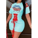 Fancy Women's T-Shirt Dress Lip Star Stripe Pattern Front Lace up Hollow out Contrast Trim Round Neck Short-sleeved Slim Fitted T-Shirt Dress