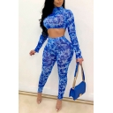 Elegant Women's Co-ords All over Water Print Mock Neck Long Sleeves Cropped Tee Top with High Waist Long Pants Set