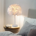 Grey/White/Pink Artichoke Night Light Contemporary 1 Head Feather Table Lamp with Wood/Black/White Base
