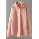 Womens Shirt Chic Solid Color All-Match Button up Turn-down Collar Loose Fit Long Sleeve Shirt