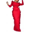 Womens Evening Gown Chic Plain Ruffle Design Split Hem Back Crew Neck Long Sleeve Slim Fitted Floor Length Bodycon Dress