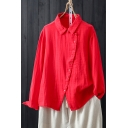 Classic Womens Shirt Solid Color Cotton Linen Button up Point Collar Loose Fit Long Sleeve Shirt