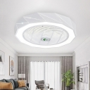 White Hollowed out Round Ceiling Fan Lighting Modern 23