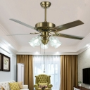Gold Flower Hanging Fan Lamp Traditional Clear Glass 3 Heads Living Room 5-Blade Semi Flush Light with Pull Chain, 42