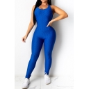 Fancy Women's Jumpsuit Quilted Detail Solid Color Halter Neck Backless Hollow out Sleeveless Slim Fitted Jumpsuit