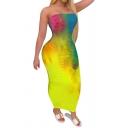 Retro Women's Dress Tie Dye Pattern off Strapless Sleeveless Long Slim Fitted Bodycon Dress
