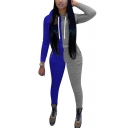 Creative Womens Co-ords Two Tone Slim Fitted 7/8 Length Pencil Pants Long Sleeve Hooded Jacket Sport Co-ords