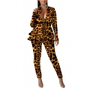Novelty Womens Co-ords Leopard Skin Underwater Print Layer Ruffle Hem Long Sleeve Deep V Neck Jacket Ankle Length Pencil Pants Slim Fit Co-ords