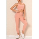 Leisure Womens Runing Set Solid Color Hollow out I-Shaped Back Elastic Round Neck Slim Fitted Crop Top with High Rise Skinny Pants Yoga Co-ords
