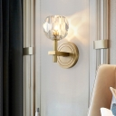 Postmodern 1 Head Wall Light Gold Ball/Cylinder Wall Mounted Lamp with Beveled Cut Crystal/Ripple Glass Shade
