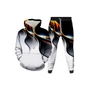 Mens Co-ords Fashionable 3D Colored Ribbon Pattern Slim Fitted 7/8 Length Tapered Pants Long Sleeve Hoodie Jogger Co-ords