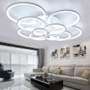 Bubble Ring Semi Flush Mount Ceiling Light Contemporary Metal 4/6/8 Lights Living Room Flushmount Lighting in Black/White