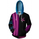 Mens Hoodie Trendy 3D Contrast Stripe Auspicious Cloud Pattern League of Legends Zipper Fly Drawstring Long Sleeve Slim Fit Hooded Sweatshirt