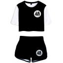 Womens Co-ords Simple 3D Chinese Letter Pattern Anime Dragon Ball Cropped Short Contrast-Sleeve Round Neck Tee Regular Fitted Shorts Co-ords