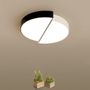 Nordic Double-Semicircle Flushmount Metal Bedroom LED Close to Ceiling Light in Black and White, 11
