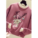 Classic Womens Sweatshirt Deer Star Embroidered Sequin Lace Patchwork Faux Twinset Round Neck Long Drop-Sleeve Loose Fit Pullover Sweatshirt