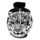 Cool White Tiger 3D Printed Basic Long Sleeve Sport Loose Pullover Hoodie