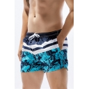 Mens Blue and Gray Ocean Water Rhomboid Plaids Print Beach Shorts with Mesh Lining