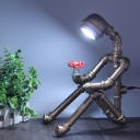 1-Light Piping Bot Night Light Factory Silver/Bronze Finish Metallic Table Lamp with Red Valve