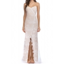 Basic Womens Dress Lace Eyelash Edge High-Split Front Spaghetti Strap Sleeveless Deep V Neck Slim Fitted Maxi Bodycon Dress