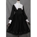 Womens Dress Stylish Contrast Lace Trim Button Design Midi Slim Fitted Stand Collar Long Puff Sleeve A-Line Swing Dress