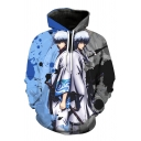 Stylish Blue and Grey Comic Figure 3D Printed Long Sleeve Casual Sport Hoodie