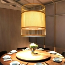 Barrel Shaped Restaurant Drop Lamp Bamboo 1 Bulb Contemporary Commercial Pendant Lighting in Beige