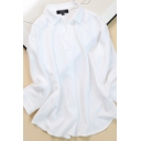 Casual Women's Blouse Plain Button Detailed Spread Collar V Neck Long-sleeved Relaxed Fitted Shirt Blouse