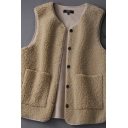 Winter Thick Vest Woolen Fur Fleece Brushed Button-down Pockets Sleeveless Regular Fit Vest for Women